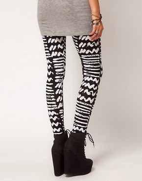 Image 2 ofASOS PETITE Exclusive Leggings with Monochrome Print