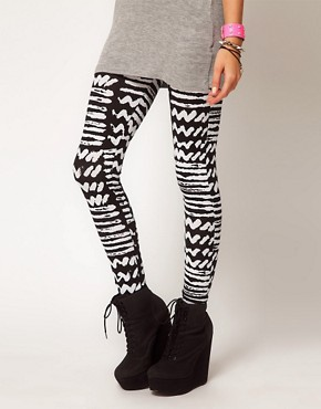 Image 4 ofASOS PETITE Exclusive Leggings with Monochrome Print