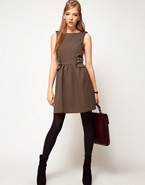 Image 4 ofASOS Skater Dress With Military Styling