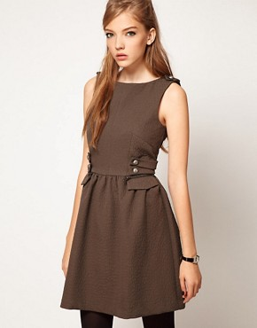 Image 1 ofASOS Skater Dress With Military Styling