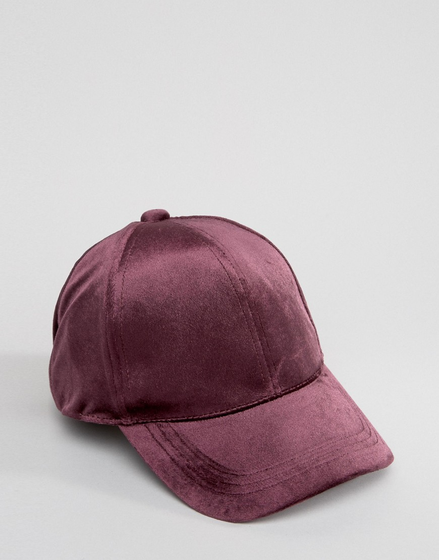 ASOS Baseball Cap In Purple Velvet - Purple