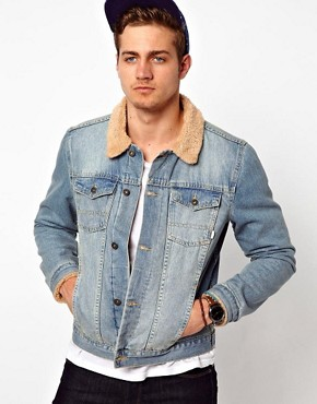 Image 1 ofASOS Denim Jacket With Borg Collar