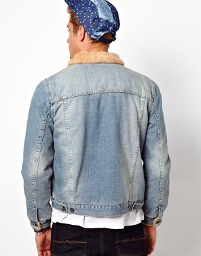 Image 2 ofASOS Denim Jacket With Borg Collar