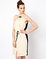 Greylin Silk Crepe Halter Dress