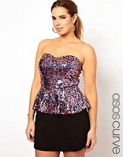 ASOS CURVE Peplum Top In Multi Sequin
