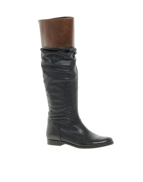 Image 1 ofASOS CHATTER BOX Leather Knee High Boots