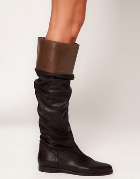Image 4 ofASOS CHATTER BOX Leather Knee High Boots