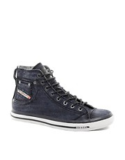 Diesel - Exposure - Scarpe da ginnastica in denim a caviglia alta