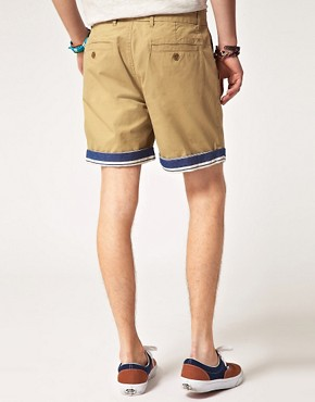Image 2 ofASOS Chino Shorts With Contrast Turn Ups