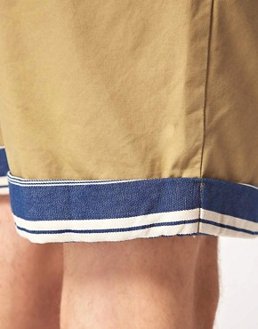 Image 3 of ASOS Chino Shorts With Contrast Turn Ups