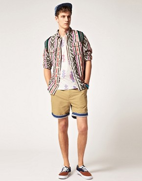 Image 4 ofASOS Chino Shorts With Contrast Turn Ups