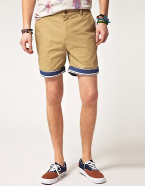 Image 1 ofASOS Chino Shorts With Contrast Turn Ups