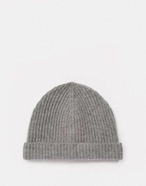 ASOS Fisherman Beanie in Grey Cashmere