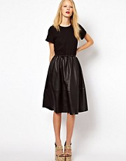 ASOS Midi Dress With Leather Skirt And Jersey Top