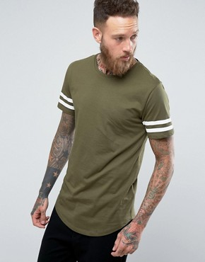 Only and Sons Longline T-shirt with Arm Stripes and Curved Hem