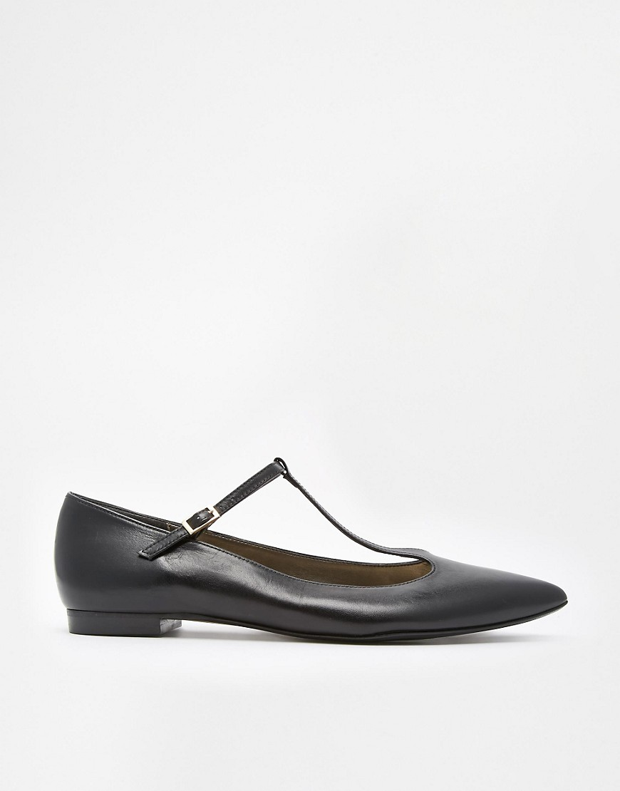 Shoesissima Dixie T-Bar Pointed Flat Shoes 'Available from UK 8-12' - Black