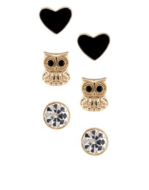 Image 1 ofRiver Island Owl And Knot Earrings Multipack