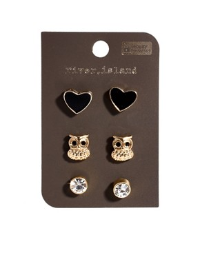 Image 4 ofRiver Island Owl And Knot Earrings Multipack