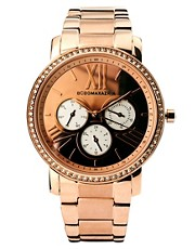 Reloj de mujer en tono dorado rosa con esfera multifuncin de BCBG