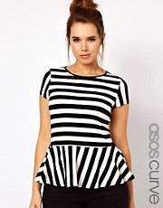 ASOS CURVE Exclusive Peplum Top In Stripe