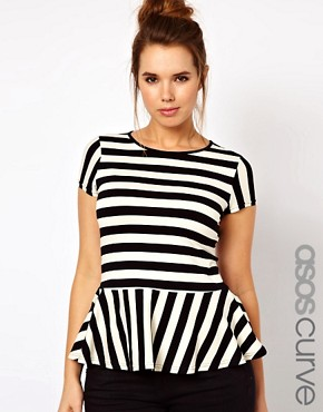 Image 1 ofASOS CURVE Exclusive Peplum Top In Stripe