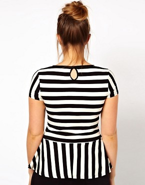 Image 2 ofASOS CURVE Exclusive Peplum Top In Stripe