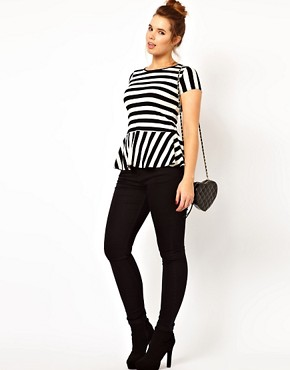 Image 4 ofASOS CURVE Exclusive Peplum Top In Stripe