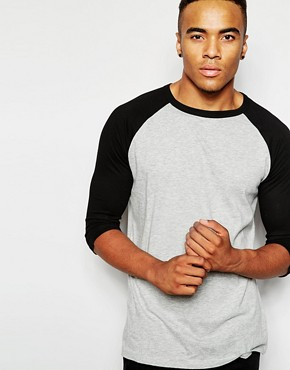 New Look T-Shirt with 3/4 Length Contrast Raglan Sleeves