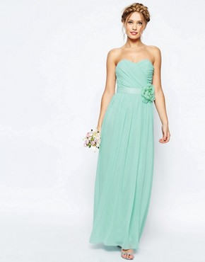 ASOS WEDDING Chiffon Maxi Bandeau Dress With Detachable Corsage Belt