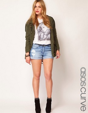 Image 1 ofASOS CURVE Denim Short With Skull