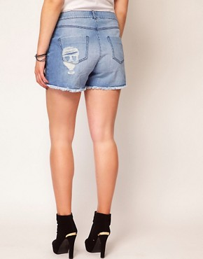 Image 2 ofASOS CURVE Denim Short With Skull