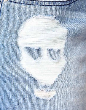 Image 3 ofASOS CURVE Denim Short With Skull