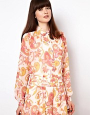 Nishe Blouse In Retro Paisley Print