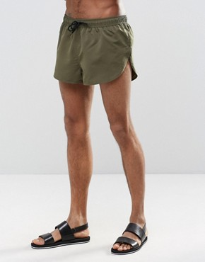 ASOS Super Short Length Swim Shorts In Khaki With Side Split
