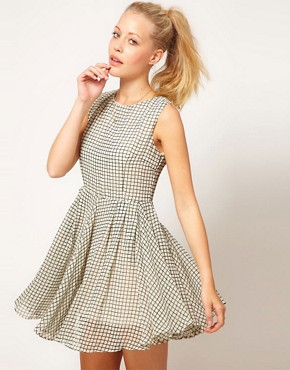 Image 1 ofGlamorous Checked Skater Dress