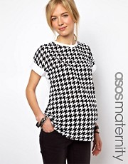 ASOS Maternity Exclusive Boyfriend T-Shirt with Dogtooth Print