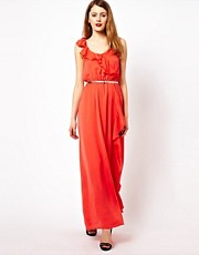 Jarlo Belted Frill Maxi Dress