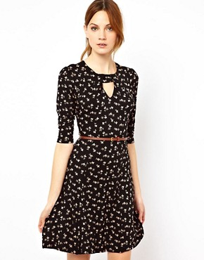 Image 1 ofWarehouse Bow Print Dress