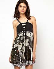Edun Strap Dress in Crosshatch Camo Print