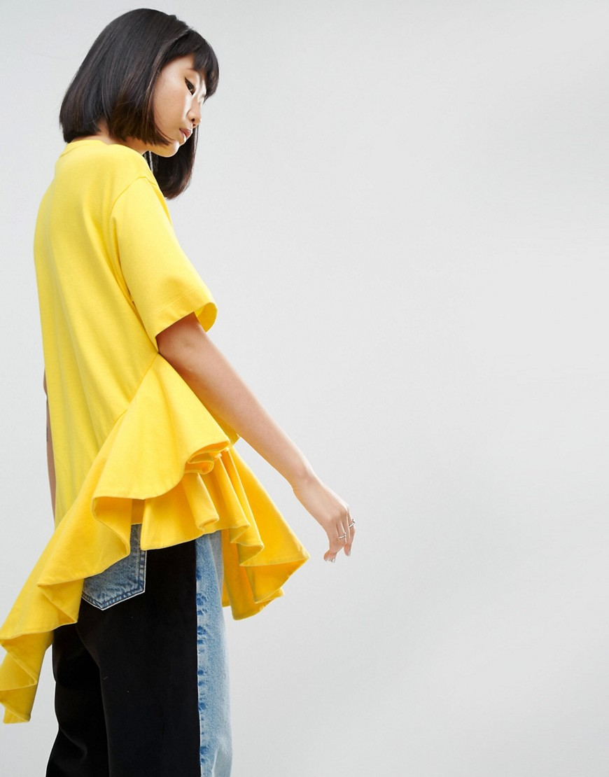 ASOS WHITE Asymmetric Frill Top - Yellow