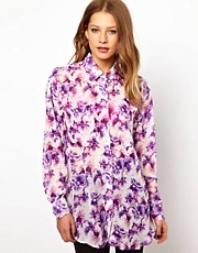 American Apparel Floral Print Oversized Shirt