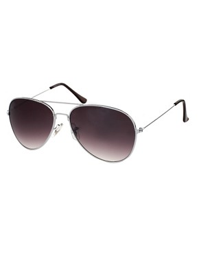 Image 1 of ASOS Silver Aviator Sunglasses