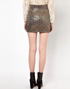 Image 2 ofSister Jane Mini Skirt in Holographic Feather