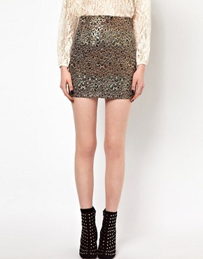 Image 4 ofSister Jane Mini Skirt in Holographic Feather