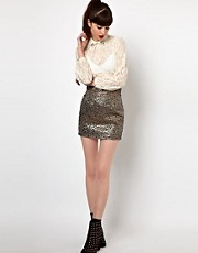 Sister Jane Mini Skirt in Holographic Feather