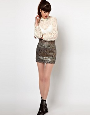 Image 1 ofSister Jane Mini Skirt in Holographic Feather