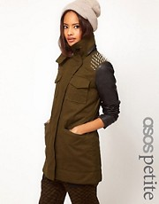 ASOS PETITE Military Jacket With Studded Shoulders