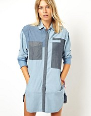 ASOS Premium Longline Colour Block Denim Shirt