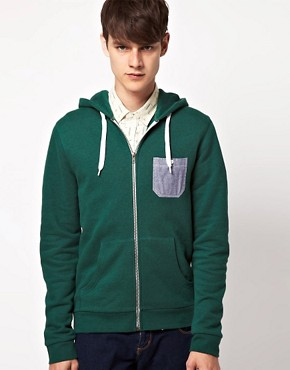 Image 1 ofASOS Hoodie With Chambray Pocket