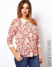 ASOS CURVE Blouse With Curve Collar In Floral Print